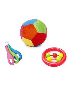Little Innocents Soft Baby Ball Stuffed with Baby Rattle and Teether Multicolour (3-PCS Set BTB)