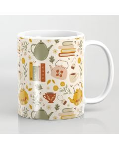 Printed Coffee Mug, Flowery Books and Tea Coffee Mug