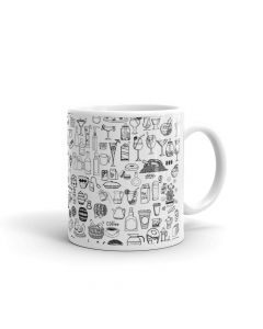 Printed Coffee Mug, Black and White Color, Graffiti - Coffee Lovers