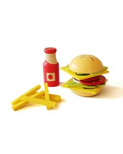 Shumee Wooden Sandwich and Burger Set (3 Years+)- 16 Pieces Play Food Set