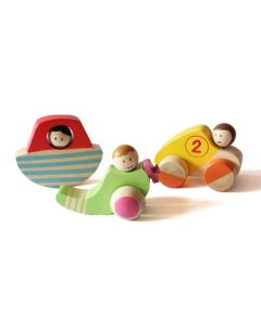 Shumee Wooden Vehicle Set- Car, Boat and Helicoptor (Age 2+)