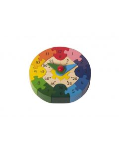 Shumee Wooden 3D Clock Puzzle- 17 Colorful Pieces + Hours & Minutes Hand (3 Years+) - Learn Time-Telling & Problem-Solving
