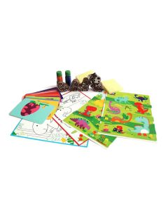 Shumee Dino Fun Activity Set (Age 3+) - Wooden Stamps, Cards & Stickers