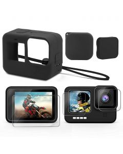 Verilux® Accessories Kit for GoPro Hero 9, Upgraded Silicone Sleeve Protective Case + 6PCS Tempered Glass Screen Protector + 2PCS Rubber Lens Cover Caps (Black)