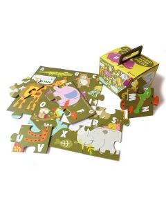 Shumee Jigsaw Puzzle- 24 Pieces- 1 Big Puzzle (3+ Years) - Educational Puzzle (Animal Alpha Floor Puzzle) | Learn Animals & Alphabets