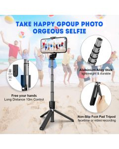 Verilux® Selfie Stick, Extendable Bluetooth Selfie Stick Tripod Phone Holder with Wireless Remote for All Smart Phones,Update Grade with Aluminum Tube More Sturdy & Lightweight