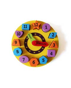 Shumee Wooden 3D Shape & Number Sorting Clock Puzzle (3 Years+) - Learn Shapes & Time Telling
