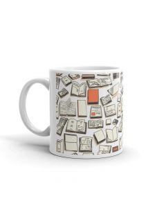 Books Collage, Orange, Printed Coffee Mug