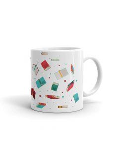 Books Collage, Red Blue, Printed Coffee Mug